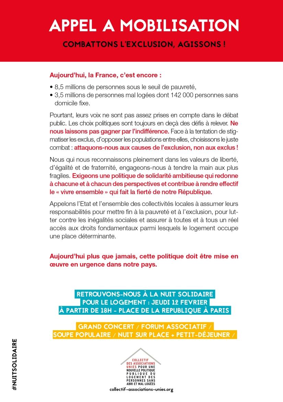 Appel à mobilisation Nuit Solidaire